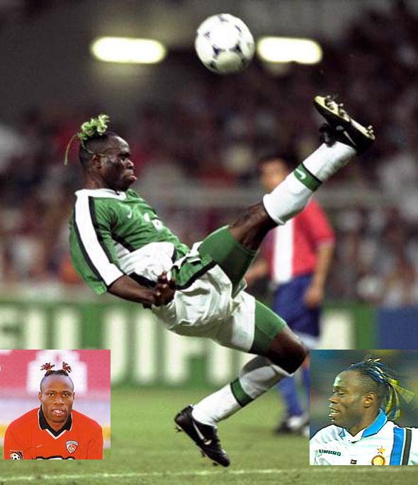 Taribo West ízléses hajviselete, a színét mindig aktuális csapata mezéhez igazította