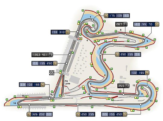 A sanghaji pálya alaprajza (Grafika: www.fia.com)