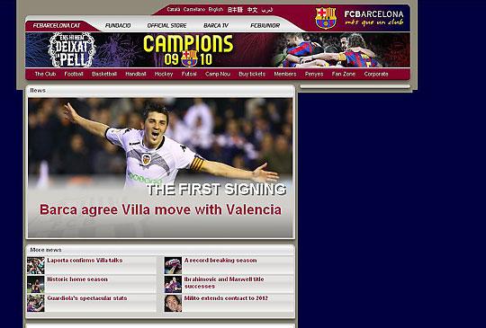 A Barcelona honlapja világgá kürtölte a hírt: David Villa a katalánoknál folytatja