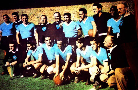 A győztes uruguayi csapat 1950-ben (Fotó: Imago, archív)