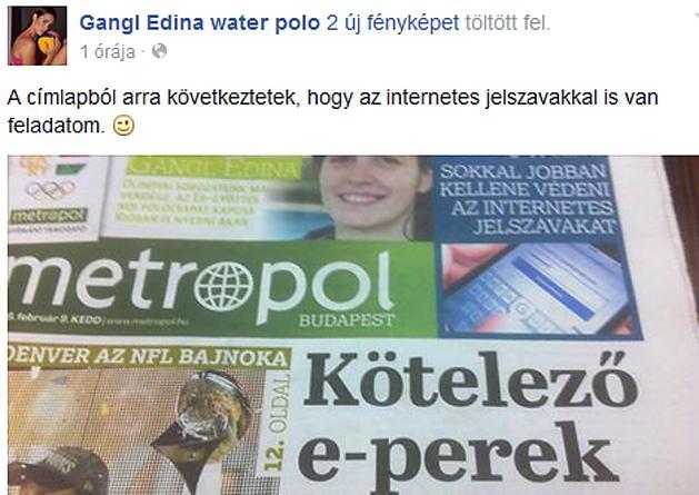 V�zilabda: Gangl Edina nemcsak sz�p, humor�rz�ke is van