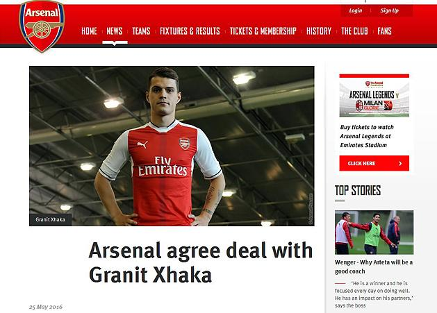 Arsenal: Granit Xhakát szerződtette a klub – hivatalos