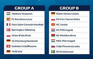 Veszprém, Barca, PSG, Flensburg, Kiel; ETO, CSM, Midtjylland, Rosztov – BL-csoportok