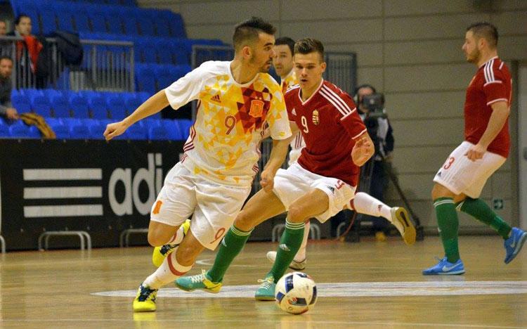 A spanyol futsalválogatott hétfőn négygólos győzelmet aratott Nyíregyházán (Fotó: mlsz.hu)