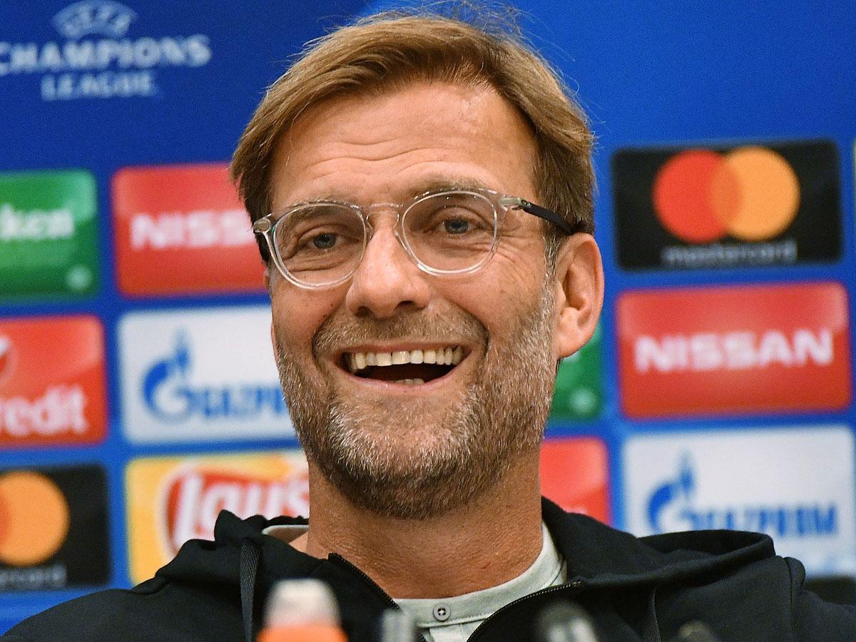 Jürgen Klopp a moszkvai sajtótájékoztatón (Fotó: AFP)