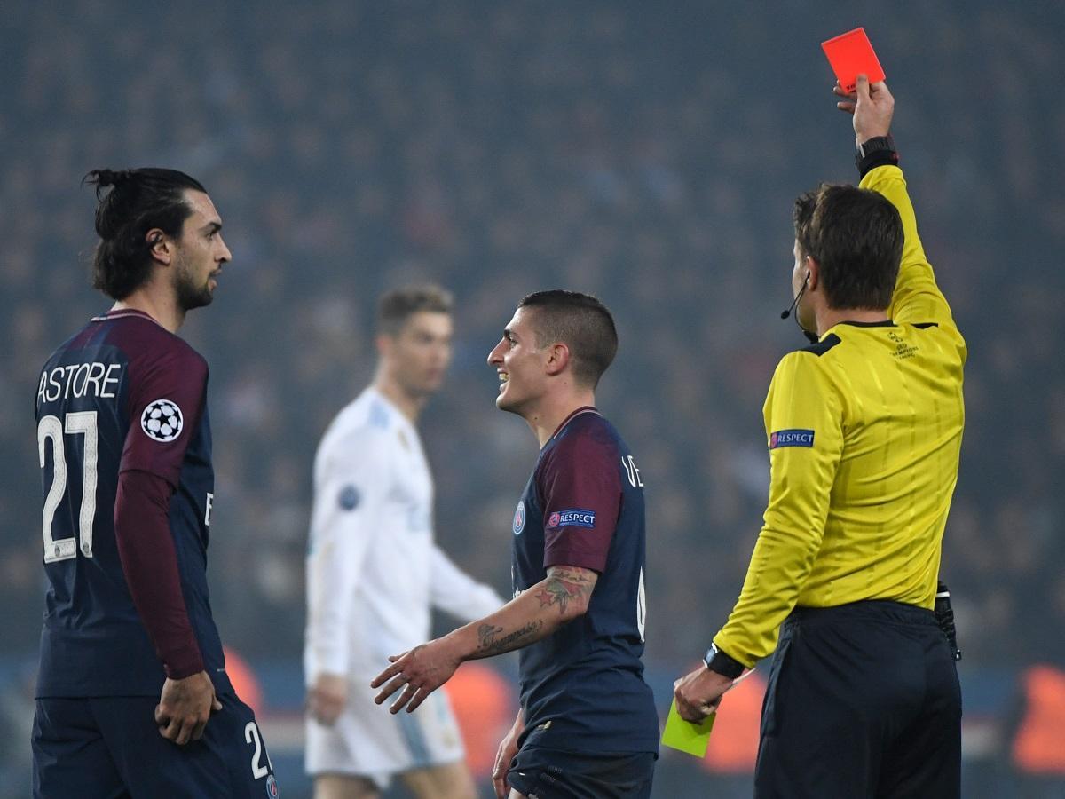 Verratti nem volt elragadtatva Felix Brych döntésétől (Fotó: AFP)